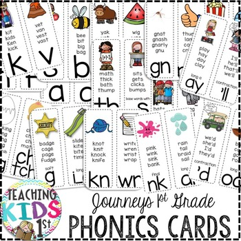 Journeys Kindergarten & 1st Grade Phonics Cards (WHITE BACKGROUND)