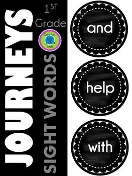 Journeys 1st Grade ~Sight Words~ Wall Headers ~ Chalkboard Style Black & White