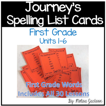 Journeys 1st Grade Spelling List Cards with test date reminder