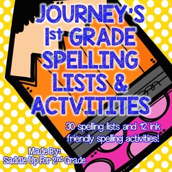 Journeys 1st Grade Spelling Lists and Activities