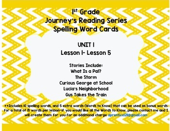 Journey's 1st Grade Spelling-- Unit 1 Word Cards