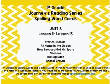Journey's 1st Grade Spelling-- Unit 3 Word Cards