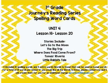 Journey's 1st Grade Spelling-- Unit 4 Word Cards