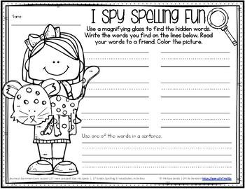 Journeys 1st Grade Spelling Word Work - Lesson 12 {Click File, Print}