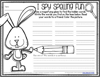 Journeys 1st Grade Spelling Word Work - Lesson 20 {Click File, Print}