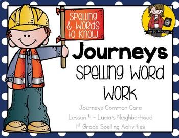 Journeys 1st Grade Spelling Word Work - Lesson 4 {Click File, Print}