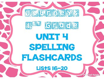 Journeys 1st Grade UNIT 4 Spelling Lists FLASHCARDS!!