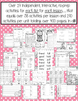 Journeys 1st Grade Unit 2 No-Prep Word Work {Sight Word & Spelling Lists}