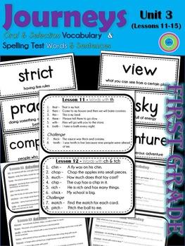 Journeys 1st Grade Unit 3 Vocab Cards & Spelling Test Reference