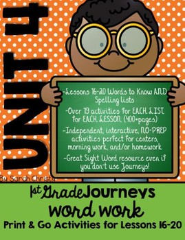 Journeys 1st Grade Unit 4 No-Prep Word Work {Sight Word & Spelling Lists}