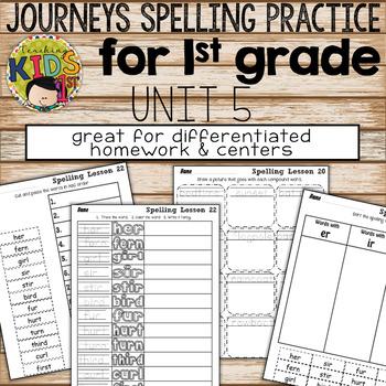Journeys 1st Grade Unit 5 Spelling Practice Bundle