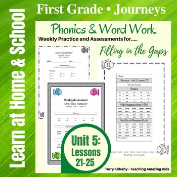 Journeys - 1st Grade/Unit 5 - Word Work Practice & Quick Assessment for Grouping