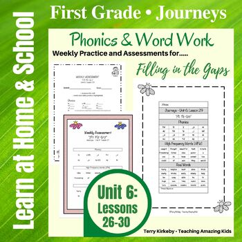 Journeys - 1st Grade/Unit 6 - Word Work Practice & Quick Assessment for Grouping
