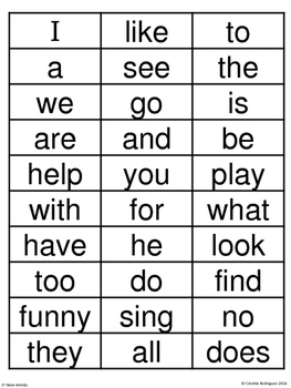 Journeys 1st Grade Vocabulary Checklist and Cards