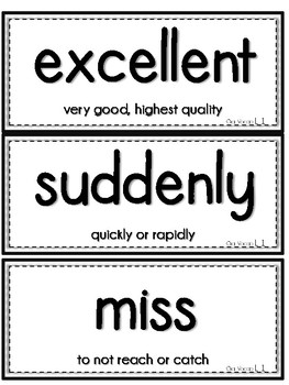 Journeys 1st Grade Vocabulary and Spelling Test Reference Cards