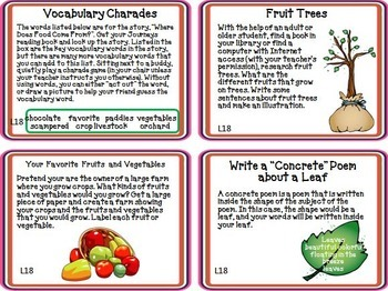 Where Does Food Come From? Journeys 1st Grade Unit 4 Lesson 18 Activities