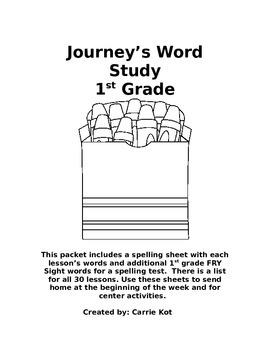 Journey's 1st Grade Word Study Spelling Lists