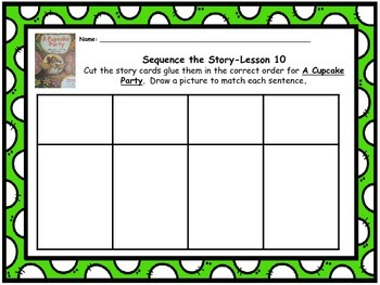 """Journeys 1st grade """"A Cupcake Party"""" Sequence Map"""