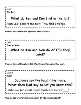 Journeys 1st grade Cold Reads Questions for Written Response to Reading