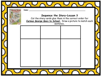 """Journeys 1st grade """"Curious George Goes to School"""" Sequence Map"""