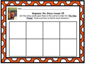 """Journeys 1st grade """"The New Friend"""" Sequence Map"""
