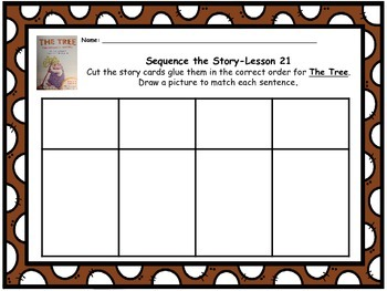 """Journeys 1st grade """"The Tree"""" Sequence Map"""