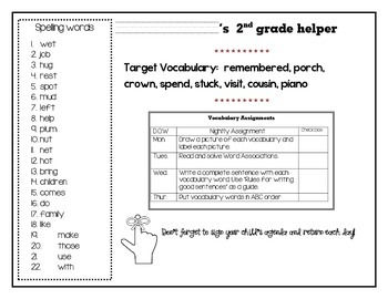Unit 1 Journeys 2nd grade Vocabulary & Spelling Helper