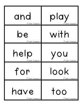 Journeys 2012 High Frequency Sight Word Cards- First Grade