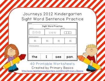 Journeys 2012 Kindergarten Sight Word Sentence Practice By