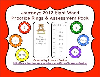 Journeys 2012 Kindergarten Sight Word Ring Practice and Assessment Pack