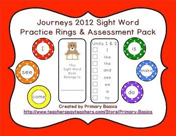 Journeys 2012 Kindergarten Sight Word Ring Practice and As