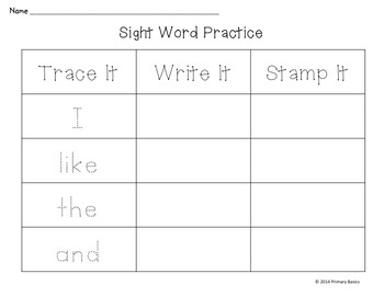 Journeys 2012 Kindergarten Sight Word Literacy Activities