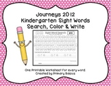 Journeys 2012 Kindergarten Sight Words Search, Color and Write