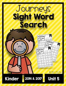 Journeys 2014 & 2017 Unit 5 Kindergarten Sight Word Search Fluency and Practice