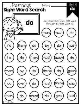 Journeys 2014 & 2017 Unit 6 Kindergarten Sight Word Search Fluency and Practice