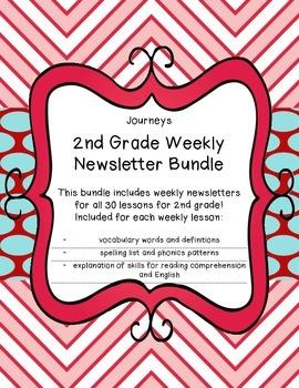 Journeys 2nd Grade, Weekly Newsletters BUNDLE