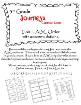 Journeys (2014) 3rd Grade ABC Order Unit 1 w/ accommodations