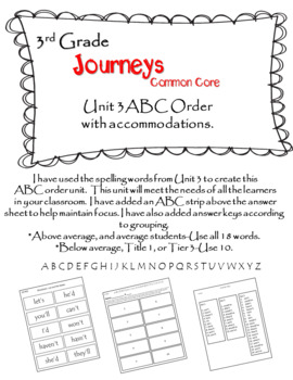 Journeys (2014) 3rd Grade ABC Order Unit 3 w/ accommodations