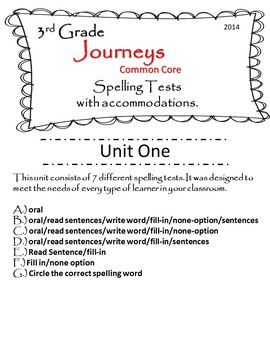 Journeys (2014) 3rd Grade U-1 Spelling Tests w/ multiple test accommodations