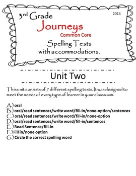 Journeys (2014) 3rd Grade U-2 Spelling Tests w/ multiple test accommodations