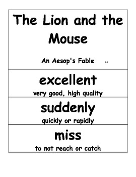 Journeys 2014 First Grade Oral and Selection Vocabulary Unit 1