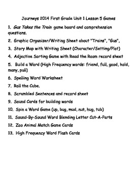 Journeys 2014/2017 First Grade Unit 1 Lesson 5: Gus Takes The Train