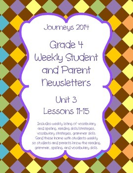 Journeys Fourth Grade, Weekly Newsletters BUNDLE
