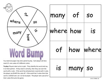 Journeys 2014 High Frequency Word Games Unit 4-Unit 6
