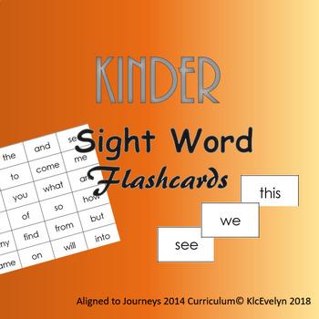Journeys 2014 Kinder Sight word Flash Cards