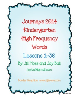 Journeys 2014 Kindergarten High Frequency Word Cards