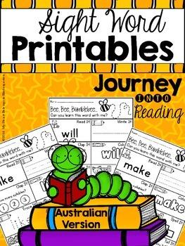 Journey into Reading {AUSTRALIAN Sight Word Printables}