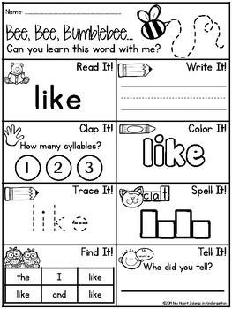 Sight Word Worksheets - Sight Word Practice FREEBIE | TpT