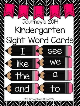 Journeys 2014 Kindergarten Sight Word Cards