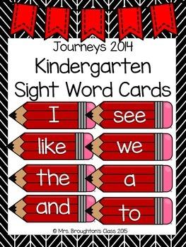 Journeys 2014 Kindergarten Sight Word Cards- Red
